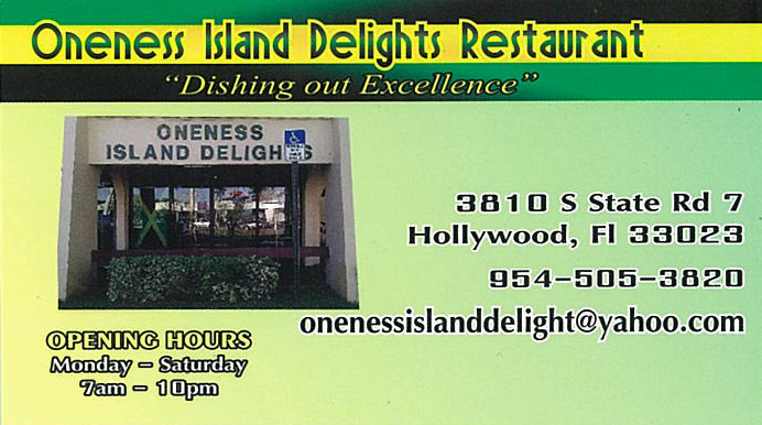 ONENESS ISLAND DELIGHTS RESTAURANT- Restaurants in Hollywood Florida 33023 - MOPASS
